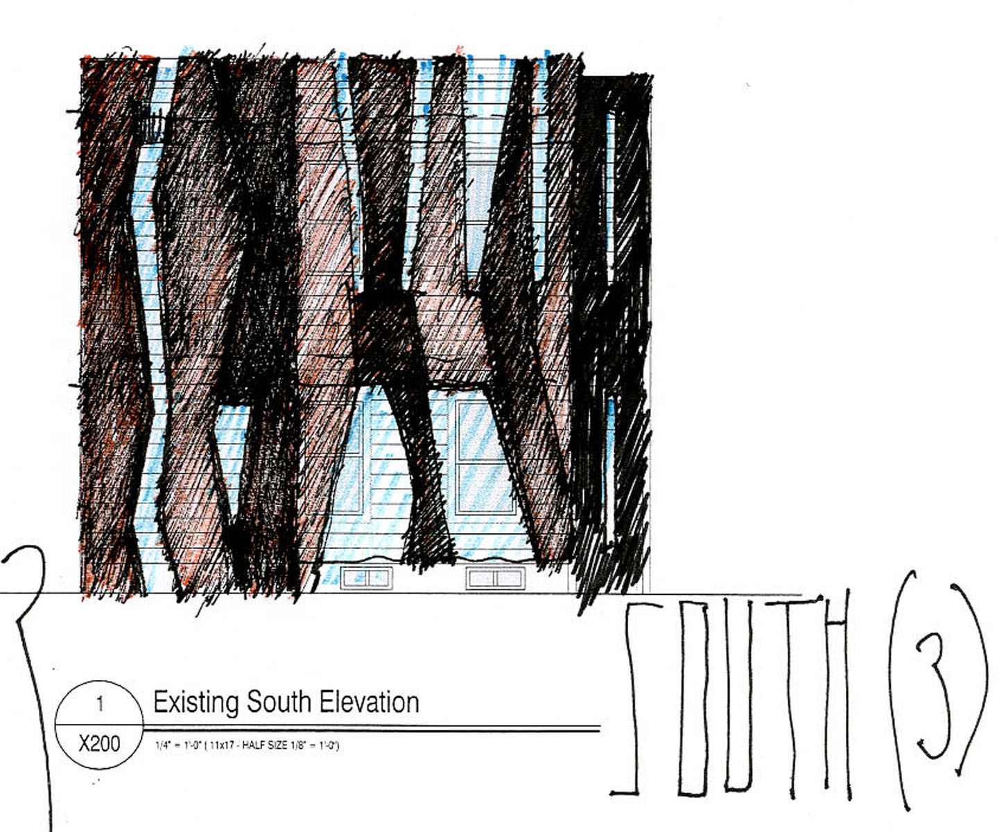 Front Elevation - Study of Rock Fissure Configuration