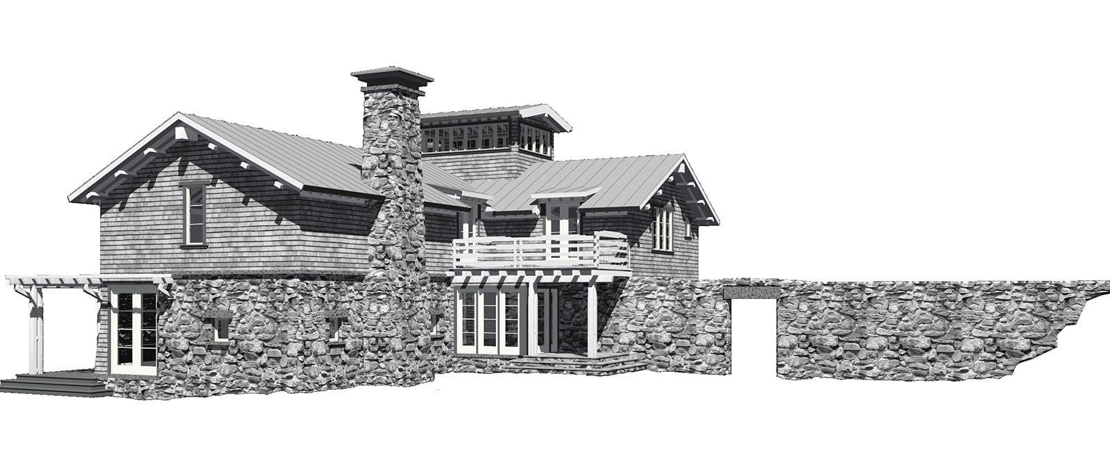 Knecht Model Entry Elevation Eroded Stone Wall