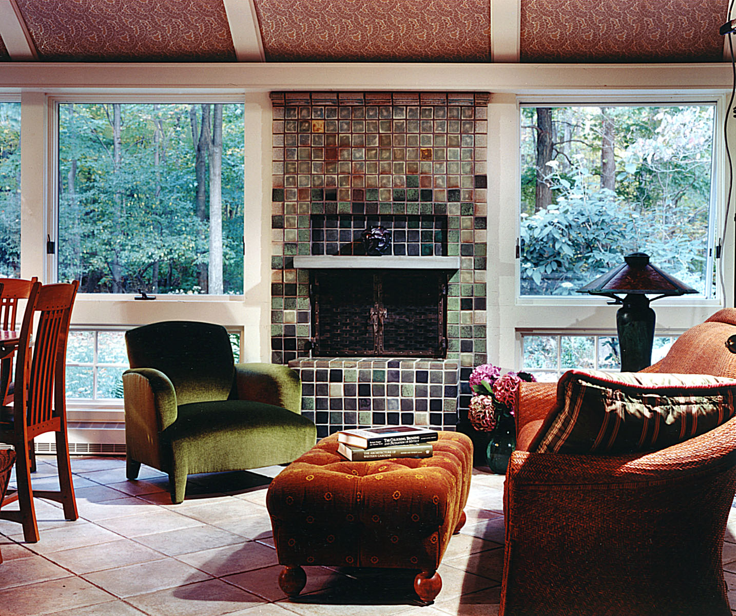Sunroom Pewabic Tile Fireplace