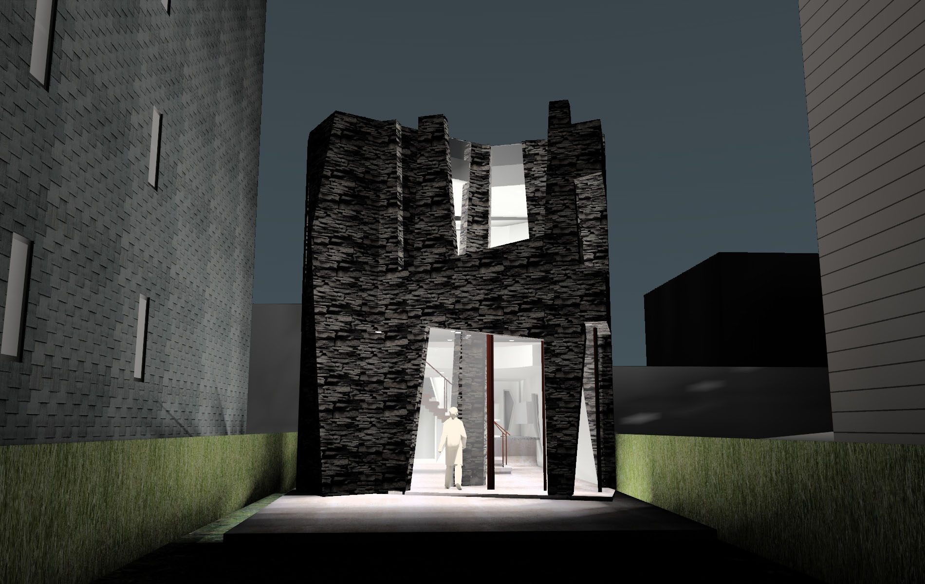 Front Entry Elevation, Night View