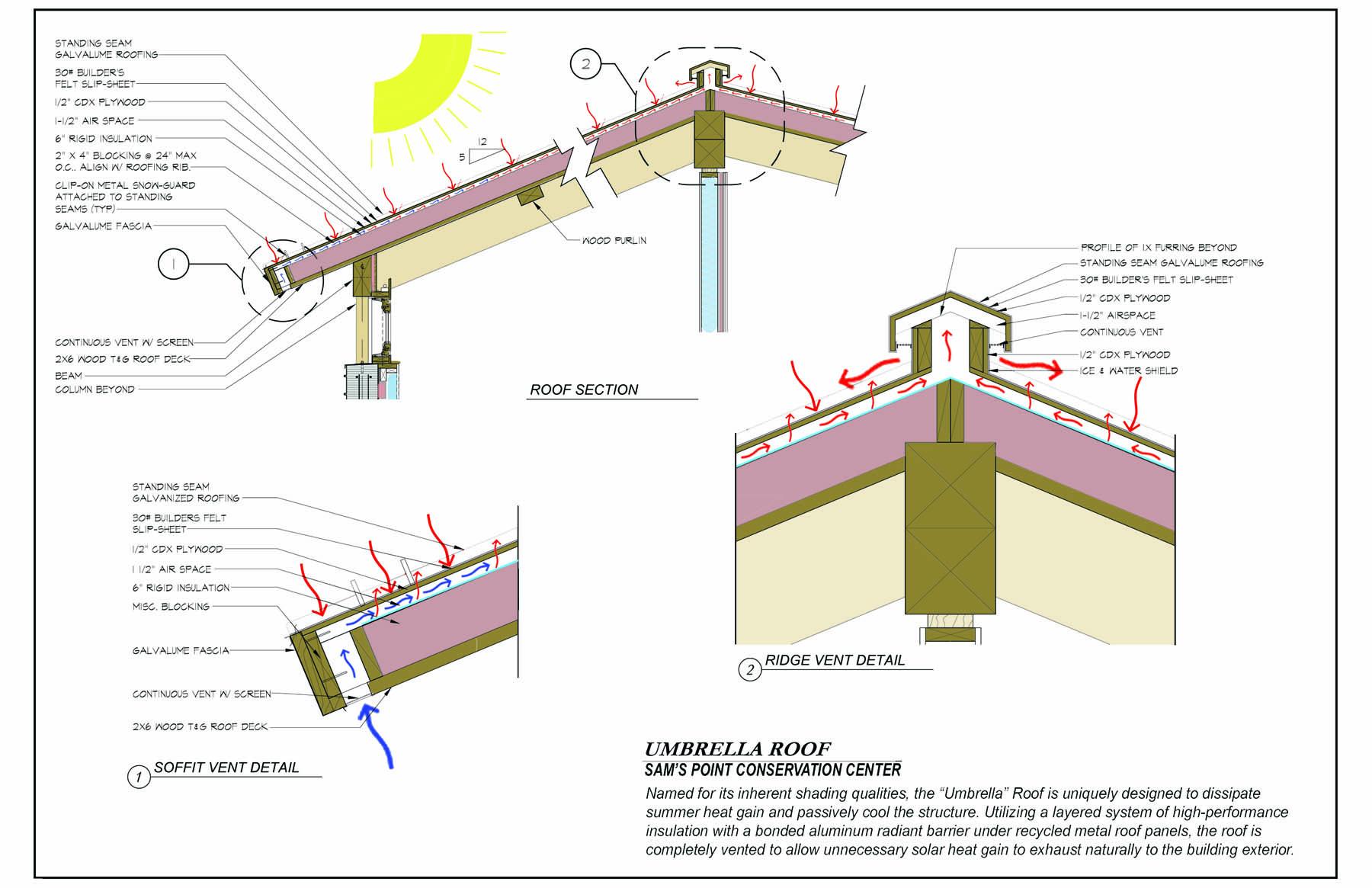 Umbrella Roof Details